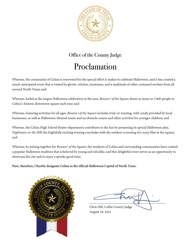 Collin Co. Judge Chris Hill Issues Proclamation Designating Celina as the Halloween Capital of North Texas